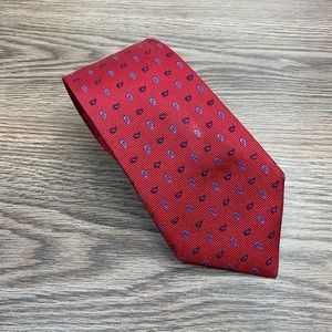 Thomas Pink Red w/ Blue & Navy Paisley Check Tie